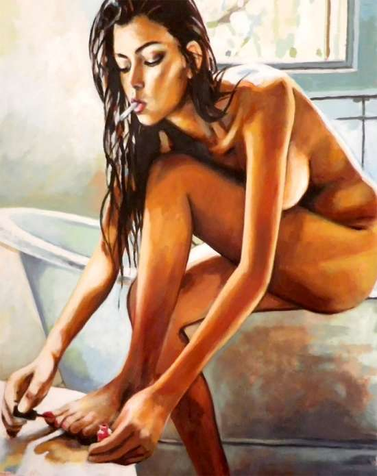 Картина по номерам 40x50 Обнаженная девушка в ванной