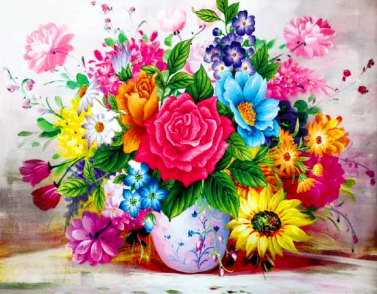 Картина по номерам 40x50 Разнообразный летний букет